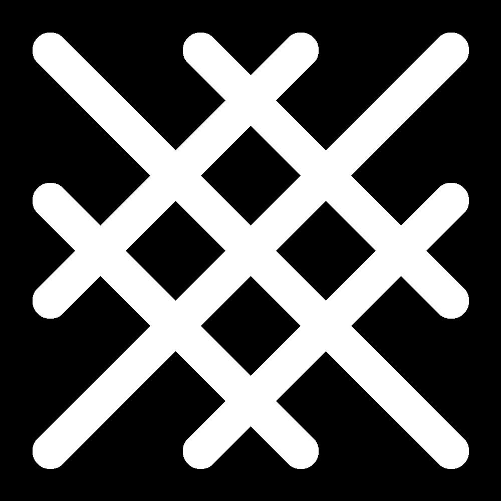 Diagonal broad cross stitch icon