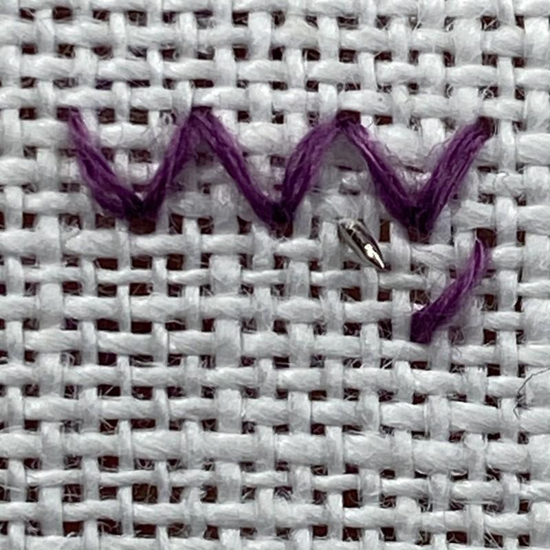 Arrowhead stitch method stage 4 photograph