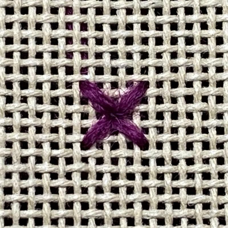 Algerian eye stitch method stage 1 photograph