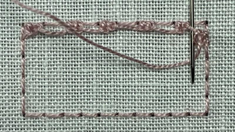 Treble Brussels stitch method stage 4 photograph