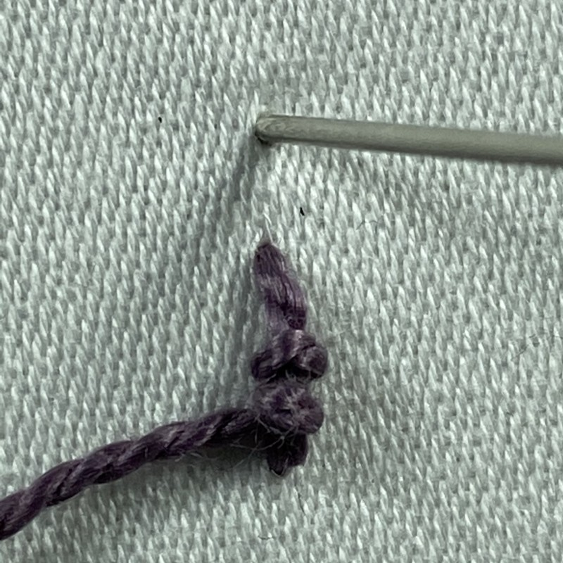 Portuguese knotted stem stitch method stage 3 photograph