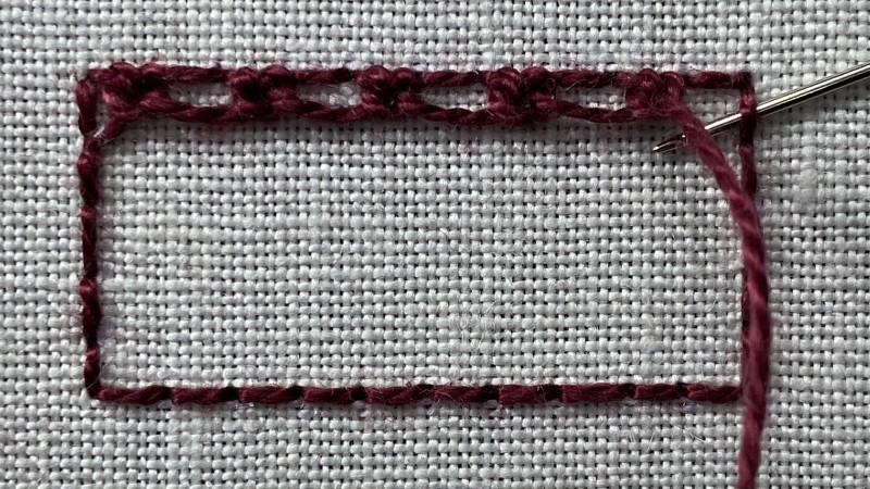 Double corded Brussels stitch method stage 2 photograph
