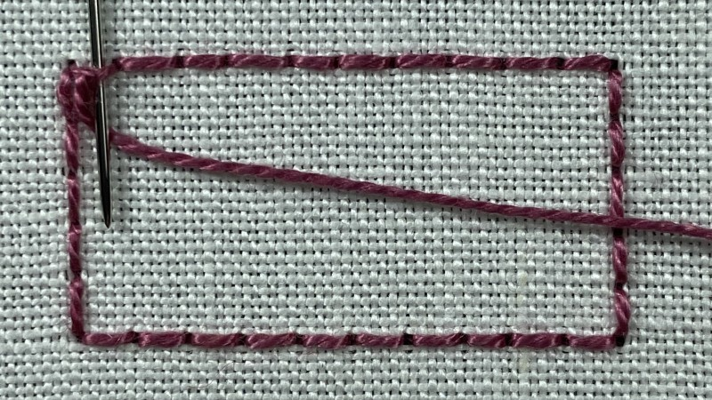Double Brussels stitch method stage 1 photograph