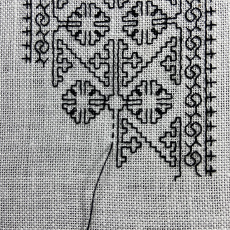 Holbein stitch method stage 3 photograph