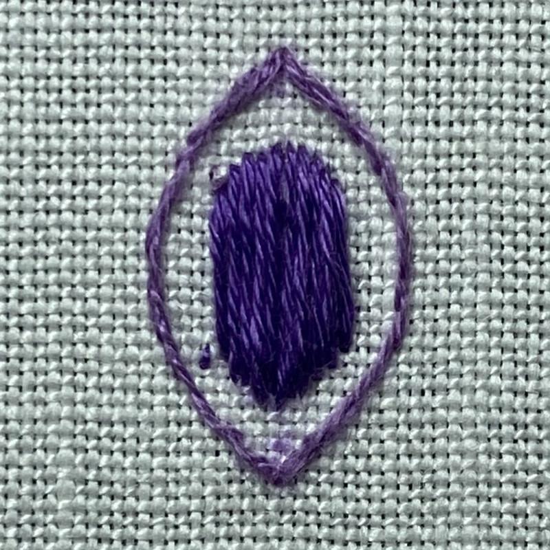 Padded satin stitch (laid work padding) method stage 4 photograph
