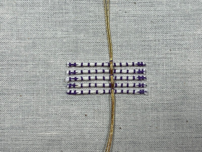 Basketweave (goldwork) method stage 4 photograph