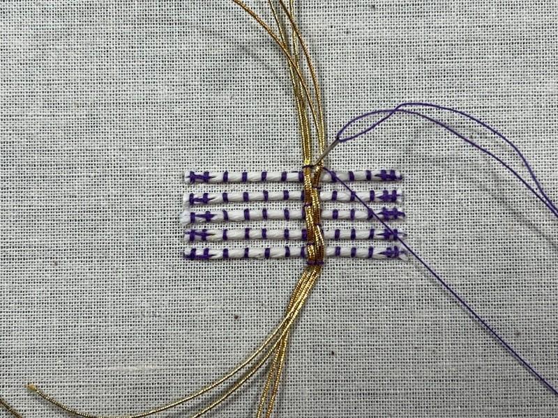 Basketweave (goldwork) method stage 7 photograph