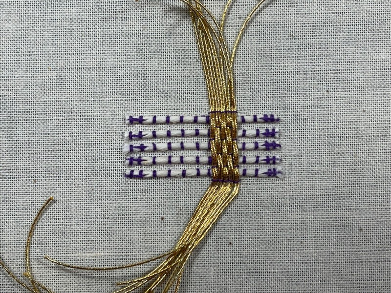 Basketweave (goldwork) method stage 8 photograph