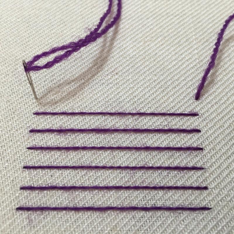 Burden stitch method stage 2 photograph