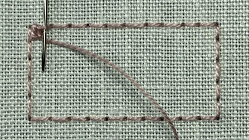 Treble Brussels stitch method stage 1 photograph