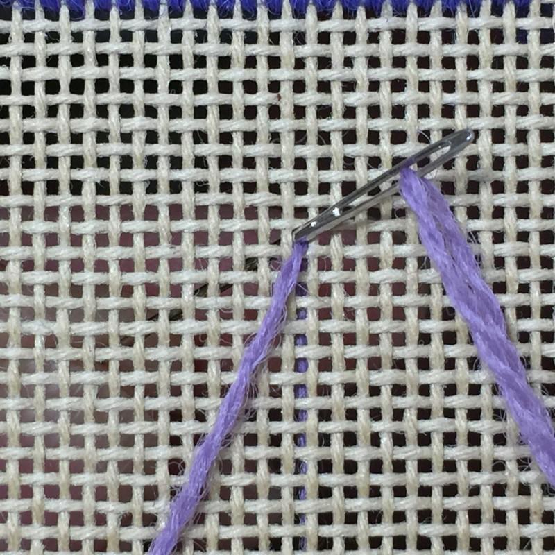 Chain stitch (canvaswork) method stage 1 photograph
