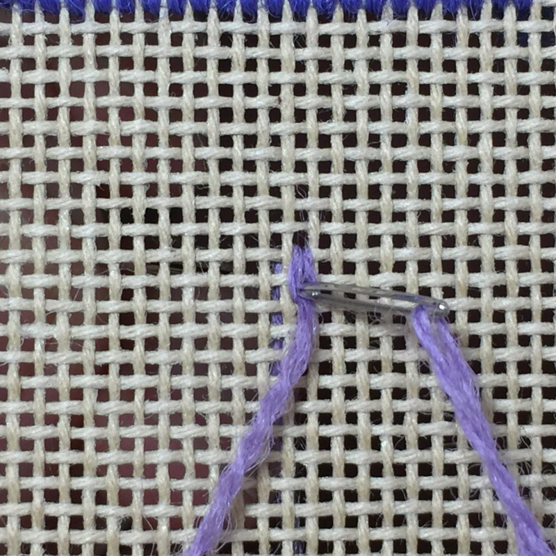 Chain stitch (canvaswork) method stage 3 photograph