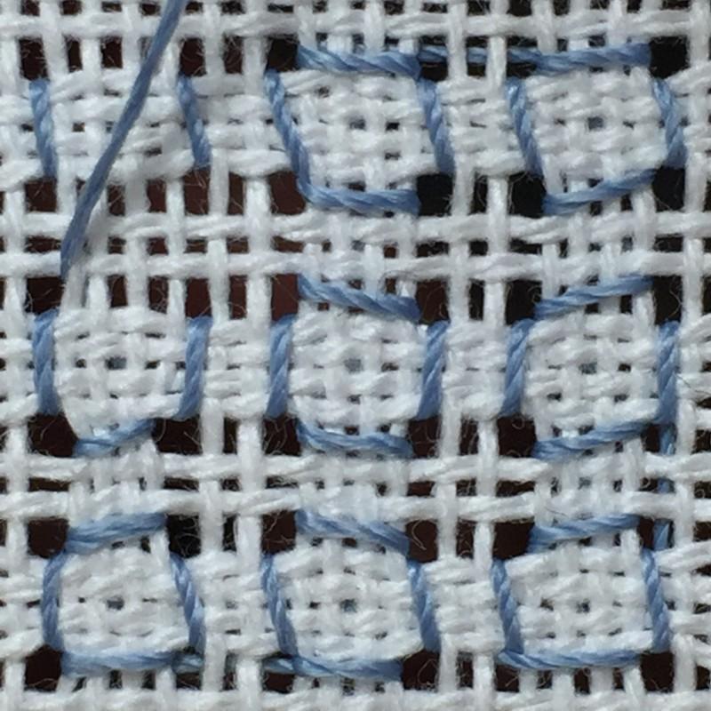 Cobbler filling stitch method stage 9 photograph