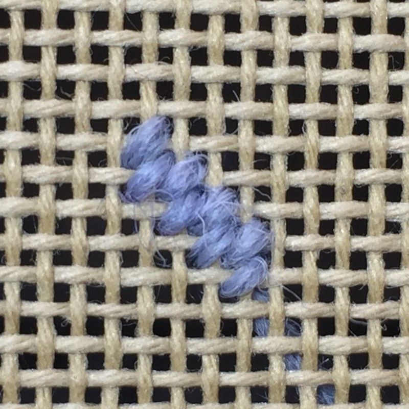 Basketweave tent stitch method stage 2 photograph