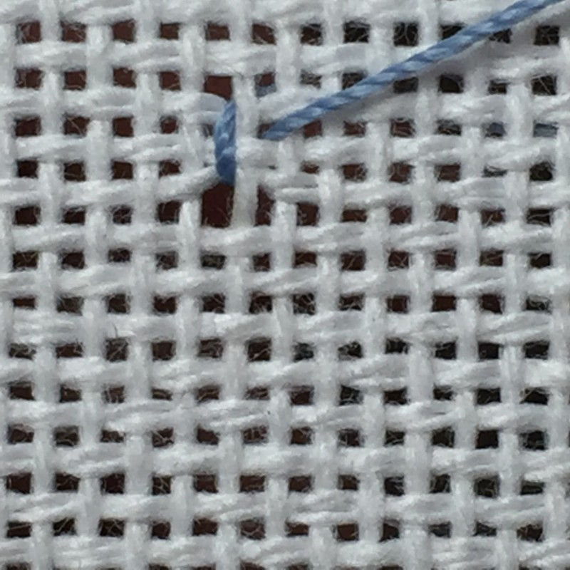 Diamond eyelet (pulled thread) method stage 1 photograph