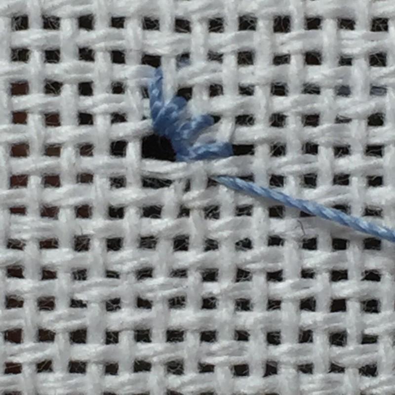 Diamond eyelet (pulled thread) method stage 2 photograph