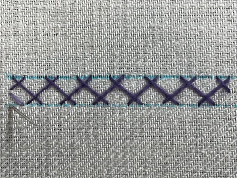 Double herringbone stitch method stage 2 photograph