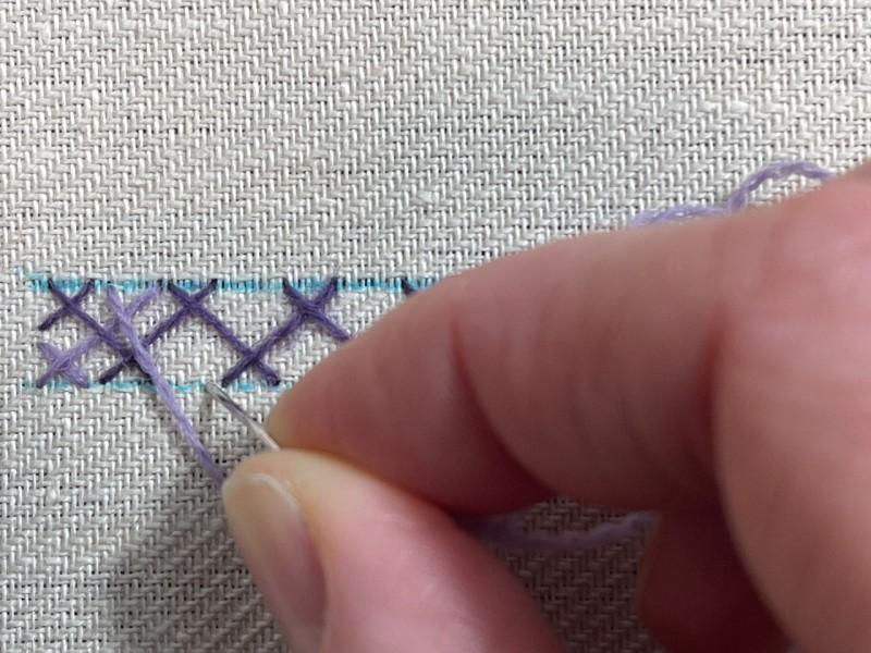 Double herringbone stitch method stage 4 photograph