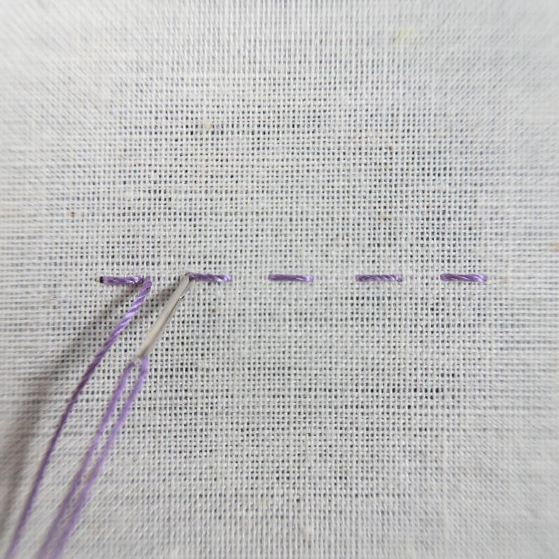Double running stitch method stage 4 photograph