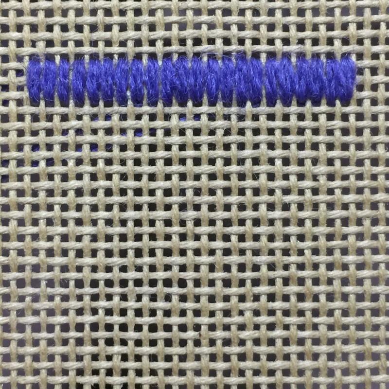 Encroaching straight Gobelin stitch method stage 1 photograph