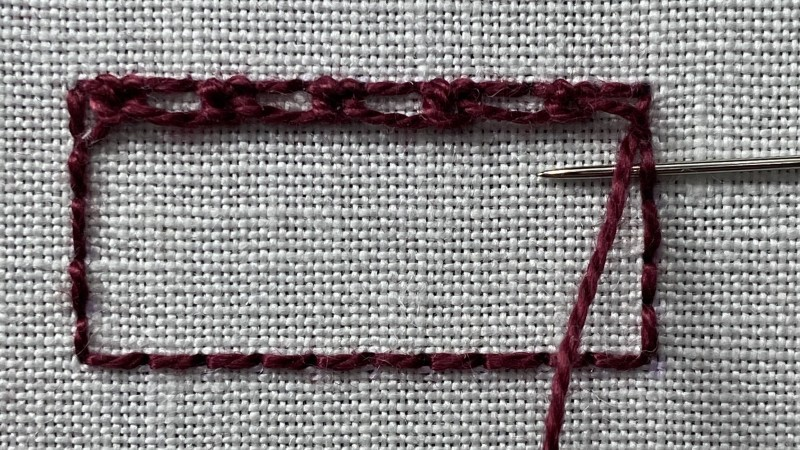 Double corded Brussels stitch method stage 3 photograph