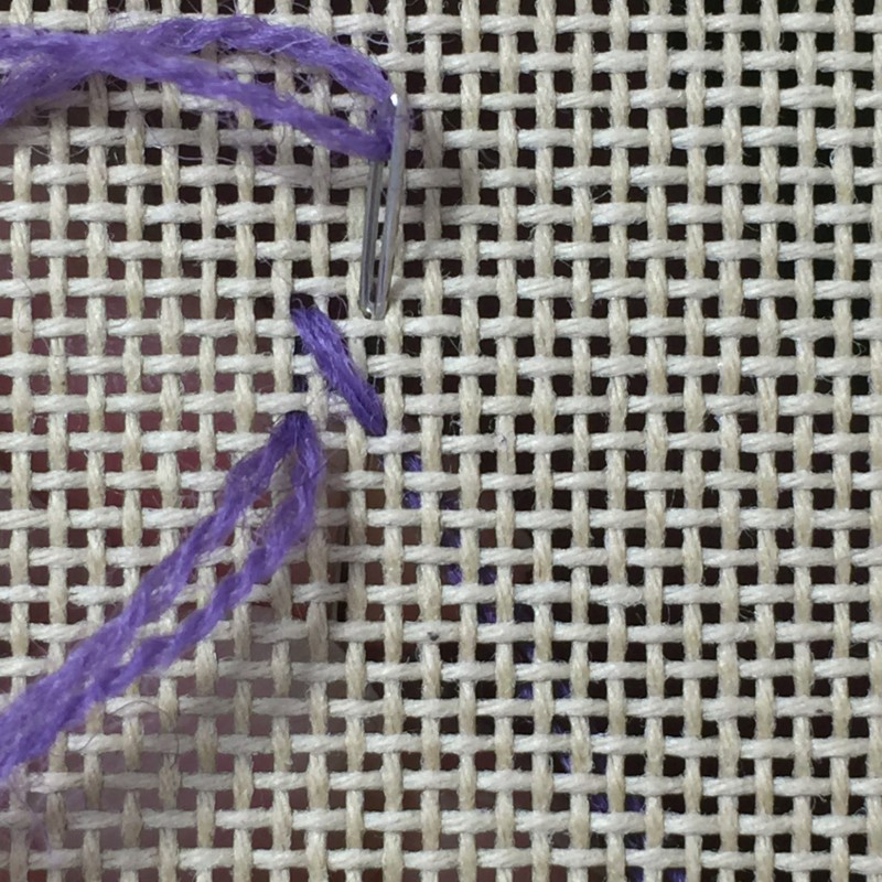 Flying cross stitch method stage 1 photograph
