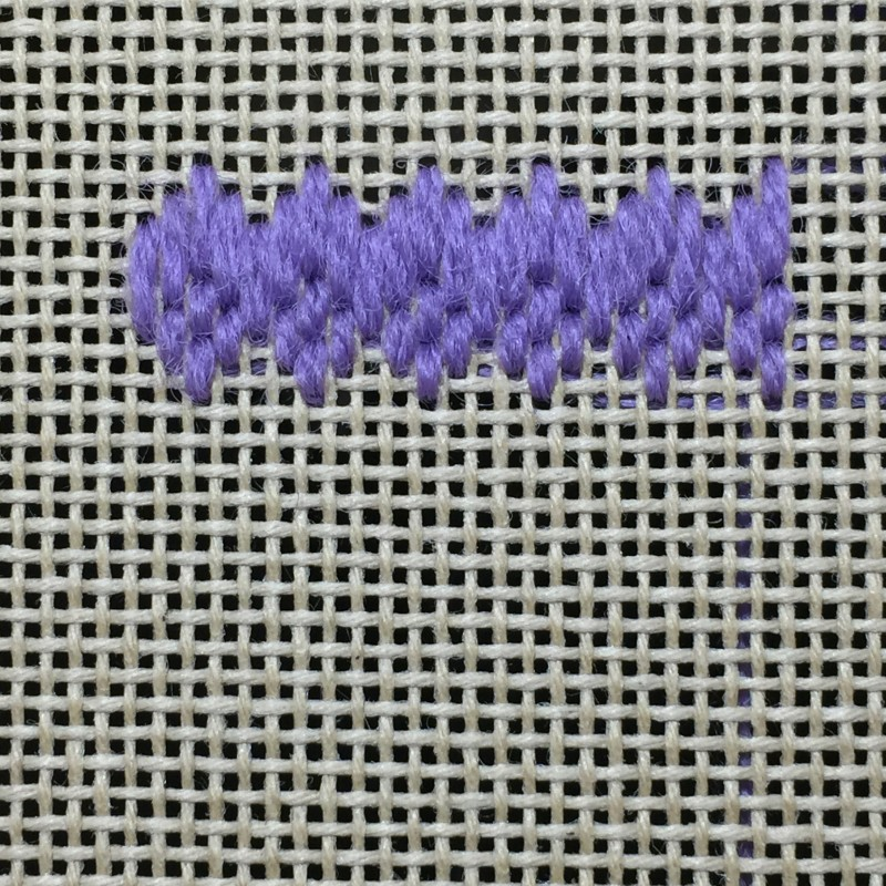 Hungarian grounding stitch method stage 4 photograph