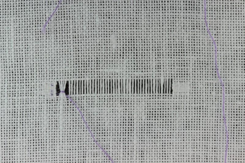 Diagonal hem stitch method stage 5 photograph
