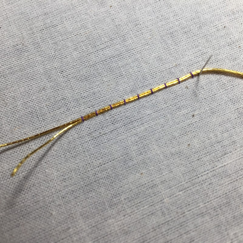 Metal thread couching (goldwork) method stage 3 photograph