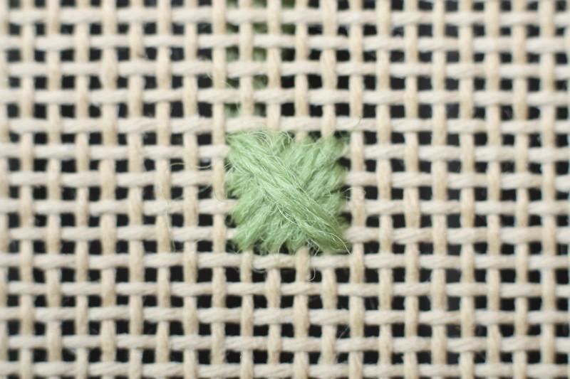 Crossed cushion stitch method stage 5 photograph