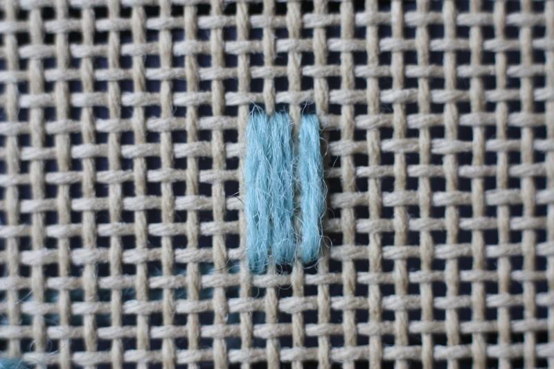 Broad cross stitch method stage 1 photograph