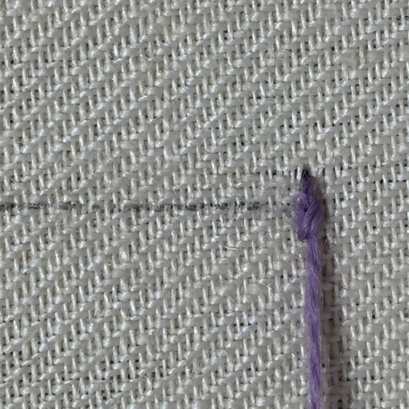 Knotted pearl stitch method stage 3 photograph