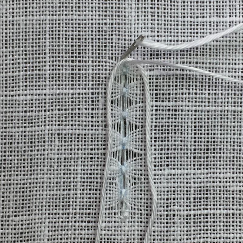 Ladder stitch (pulled thread) method stage 2 photograph