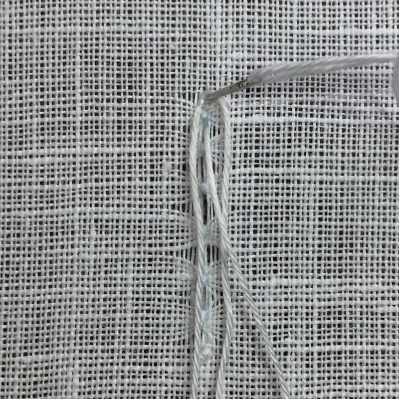 Ladder stitch (pulled thread) method stage 3 photograph