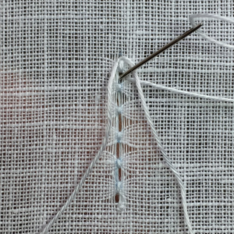 Ladder stitch (pulled thread) method stage 4 photograph