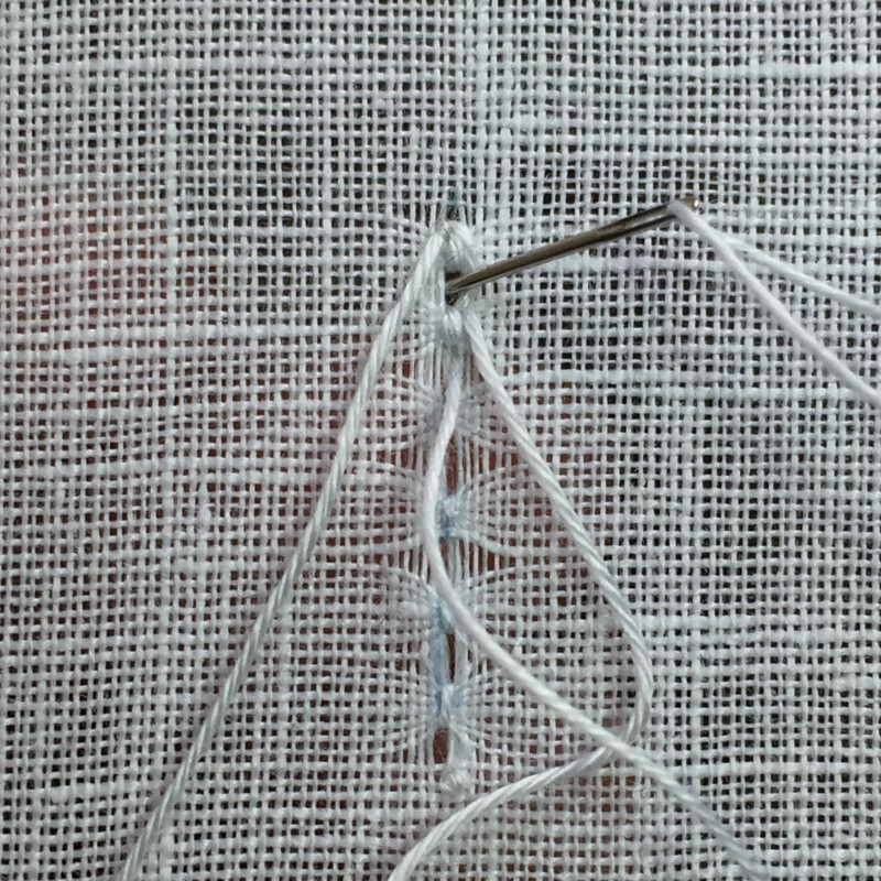 Ladder stitch (pulled thread) method stage 5 photograph