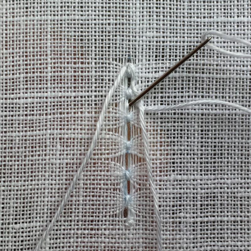 Ladder stitch (pulled thread) method stage 6 photograph