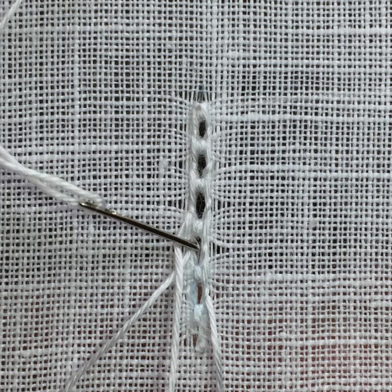 Ladder stitch (pulled thread) method stage 7 photograph