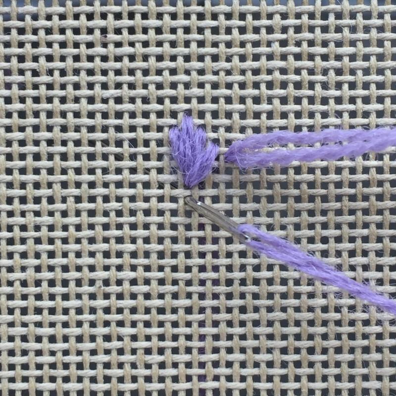 Leaf stitch (canvaswork) method stage 4 photograph