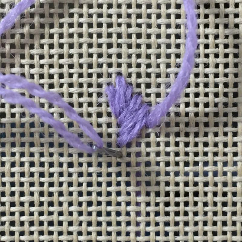 Leaf stitch (canvaswork) method stage 5 photograph