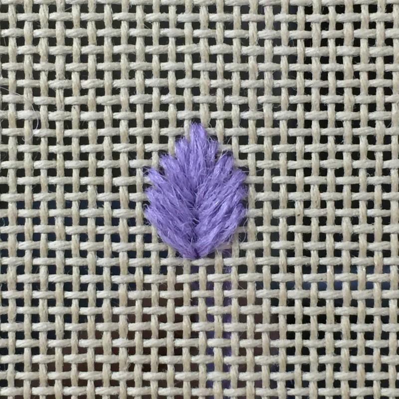 Leaf stitch (canvaswork) method stage 6 photograph