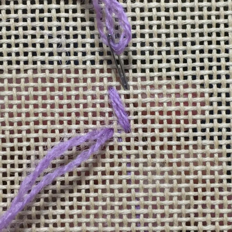 Oblong double-tied cross stitch method stage 1 photograph