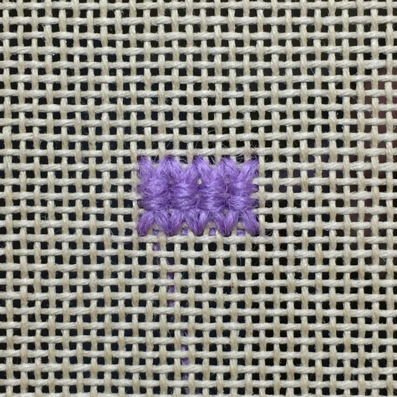 Oblong double-tied cross stitch method stage 4 photograph