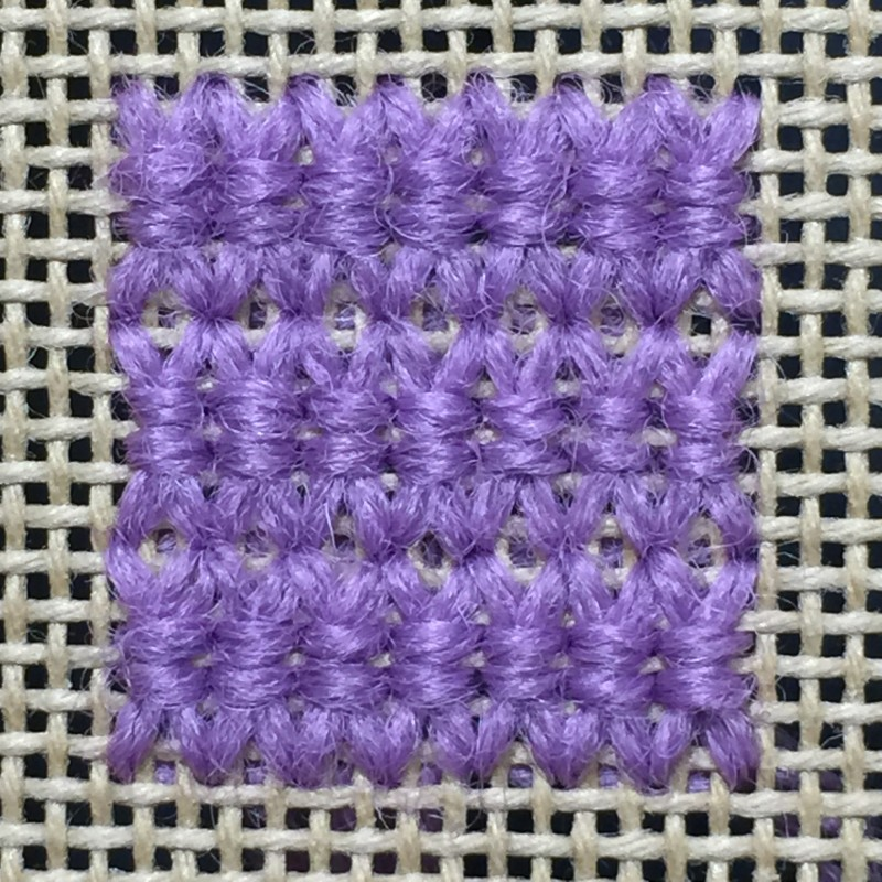 Oblong double-tied cross stitch method stage 5 photograph