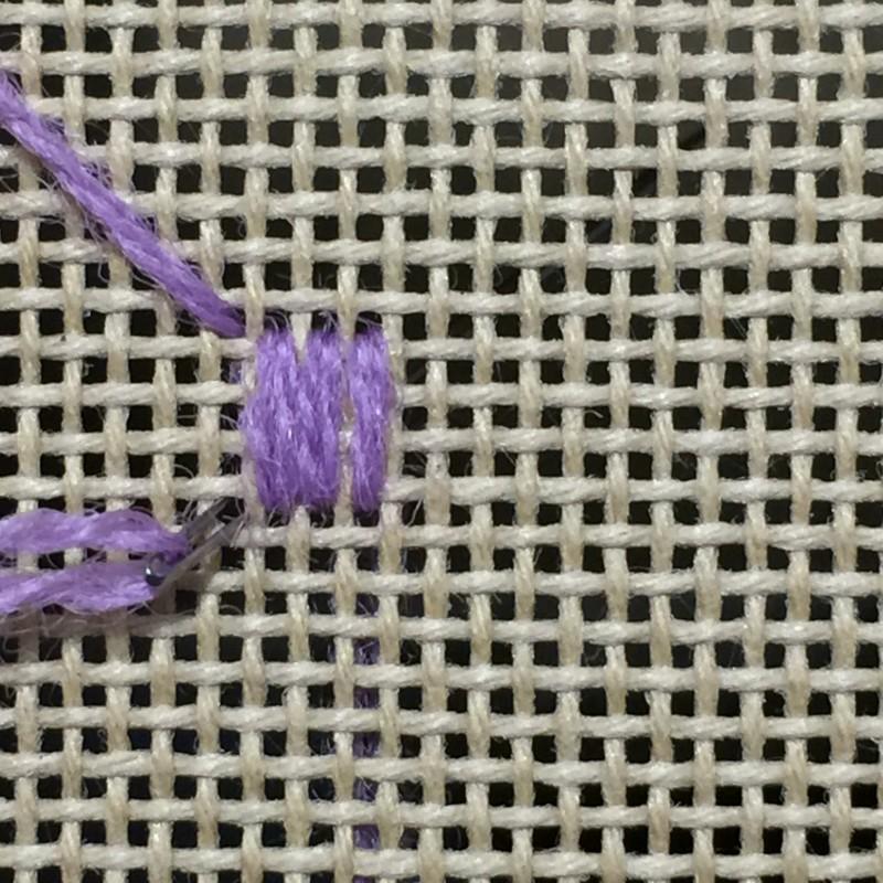 Pineapple half drop stitch method stage 1 photograph