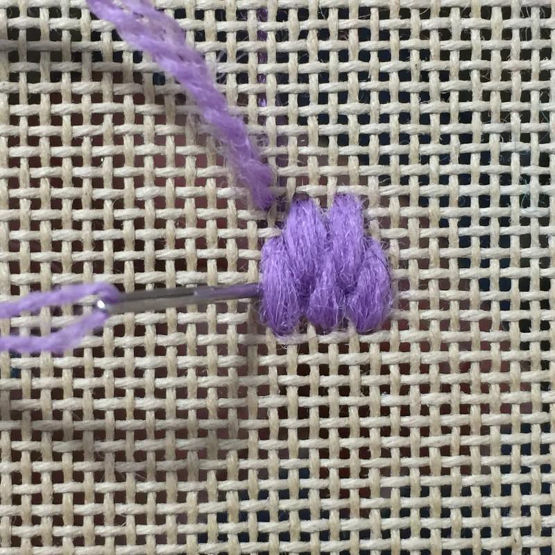 Raised spot stitch method stage 4 photograph