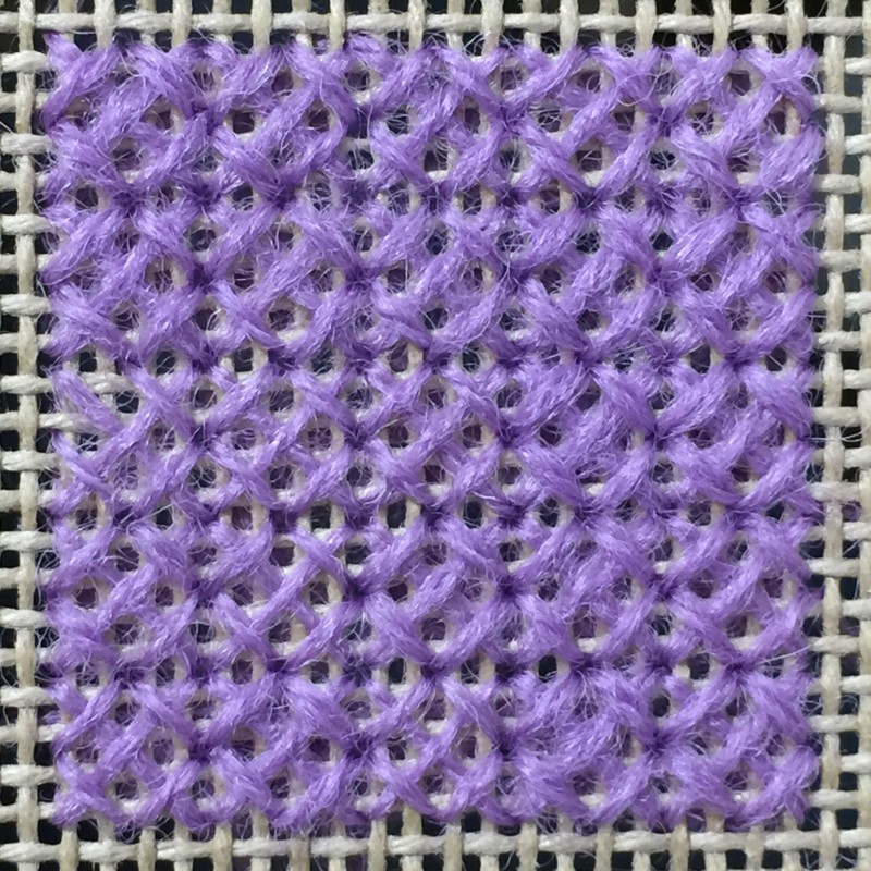 Rice stitch (canvaswork) method stage 4 photograph