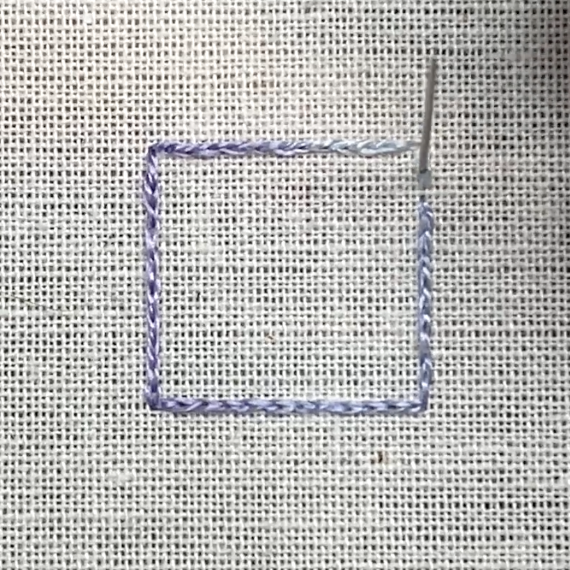 Satin stitch method stage 1 photograph