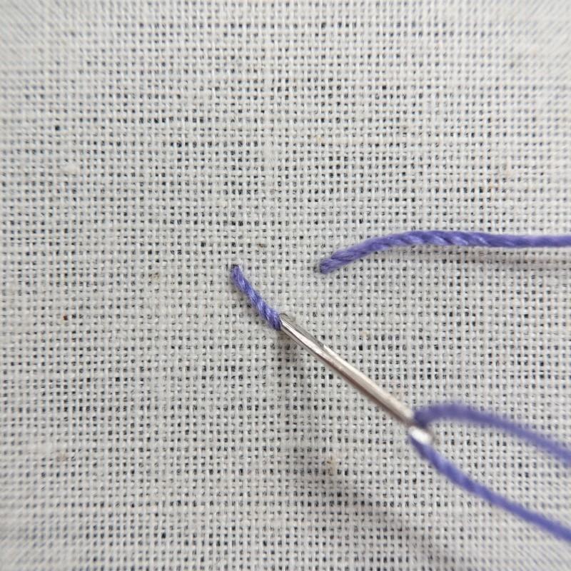 Tete-de-boeuf stitch method stage 1 photograph