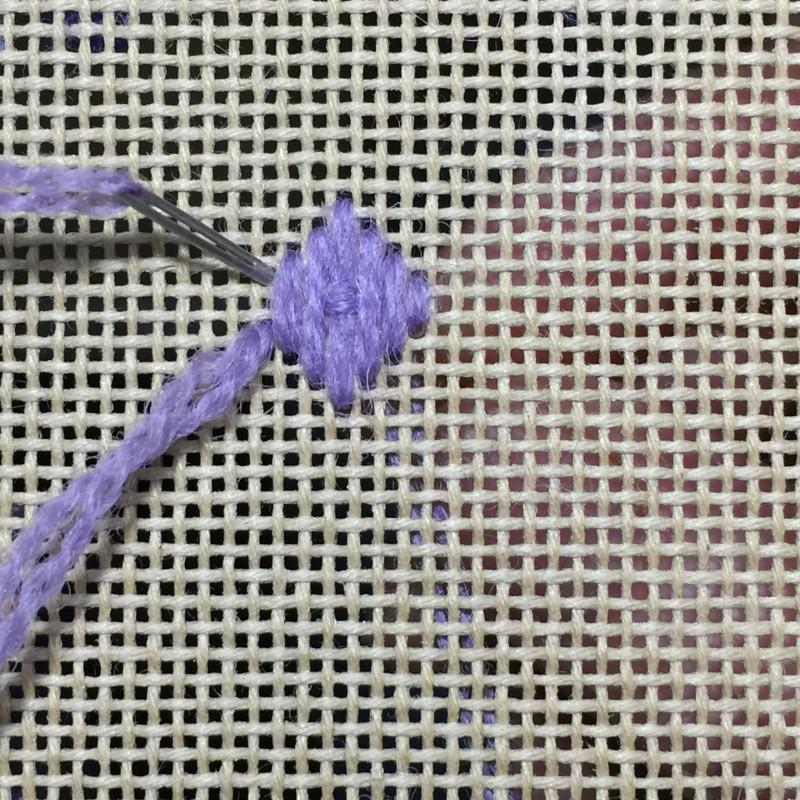 Tied pavilion stitch method stage 5 photograph